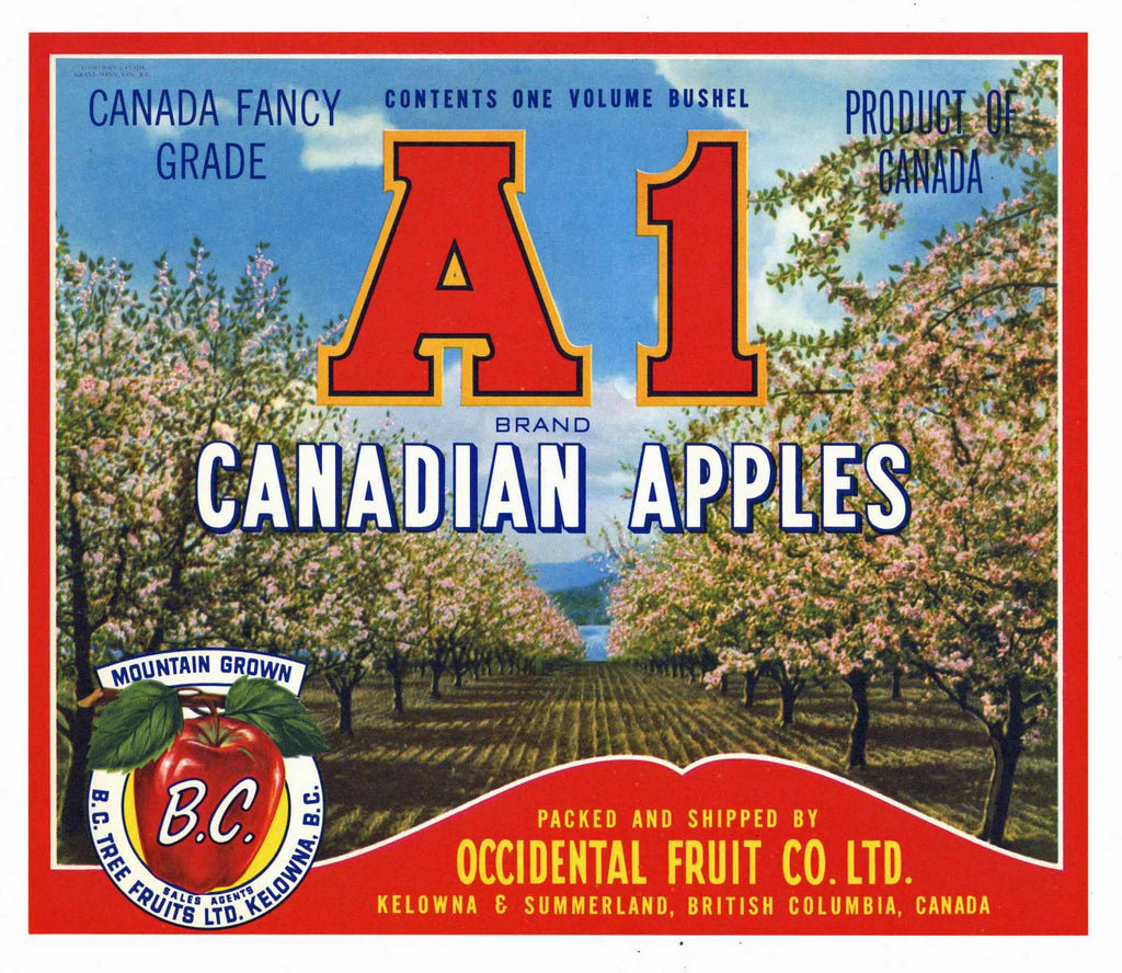 A1 Brand Vintage Canadian Apple Crate Label, red