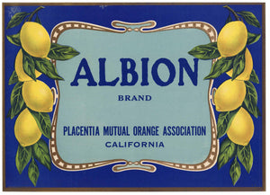 Albion Brand Vintage Placentia Lemon Crate Label