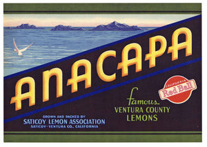 Anacapa Brand Vintage Ventura County Lemon Crate Label