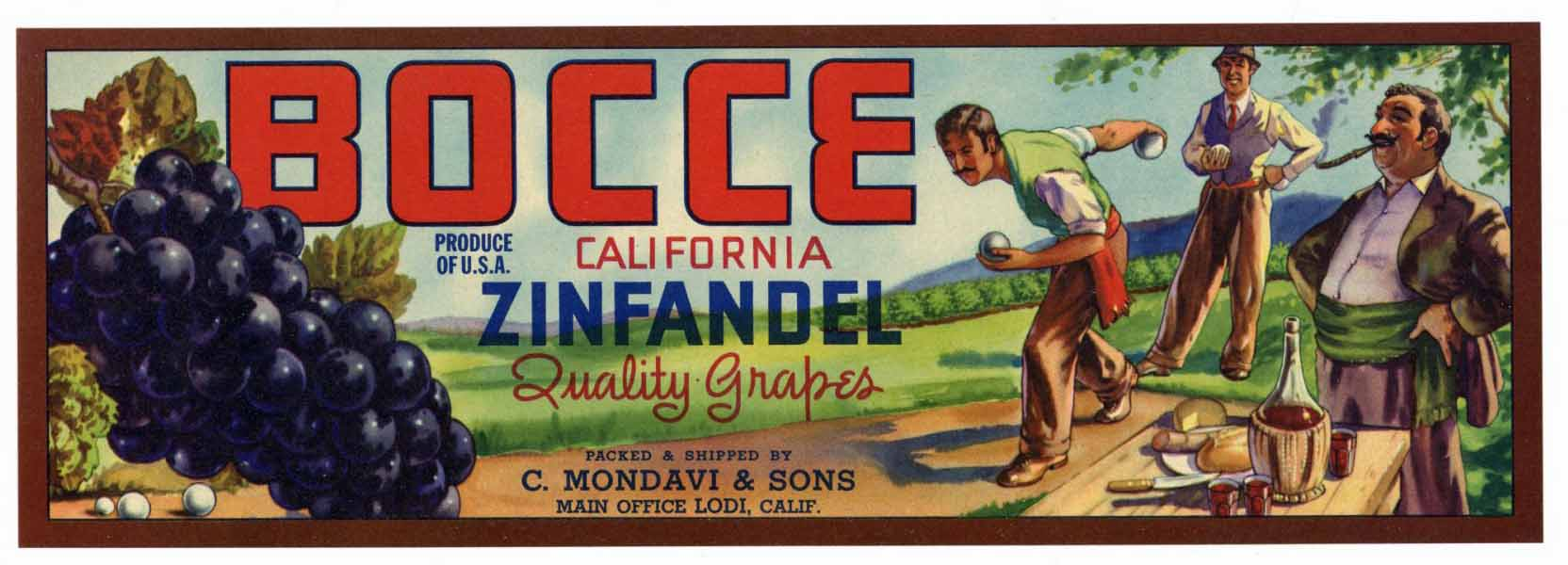 Bocce Brand Vintage Lodi Grape Crate Label