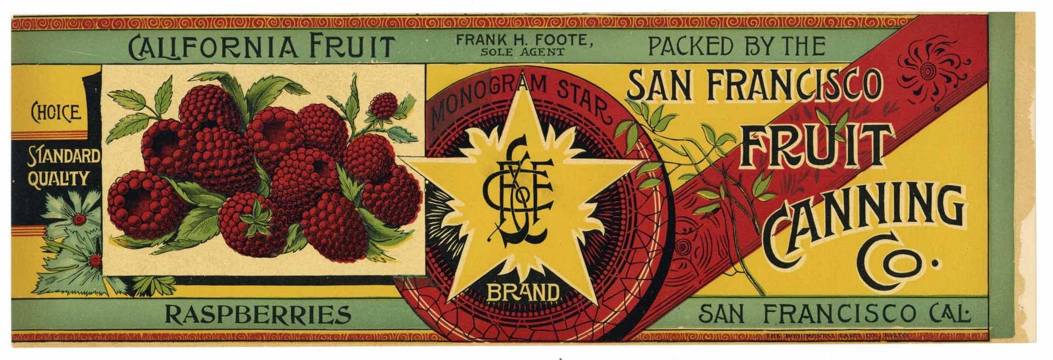 Monogram Star  Brand Vintage Raspberry Can Label