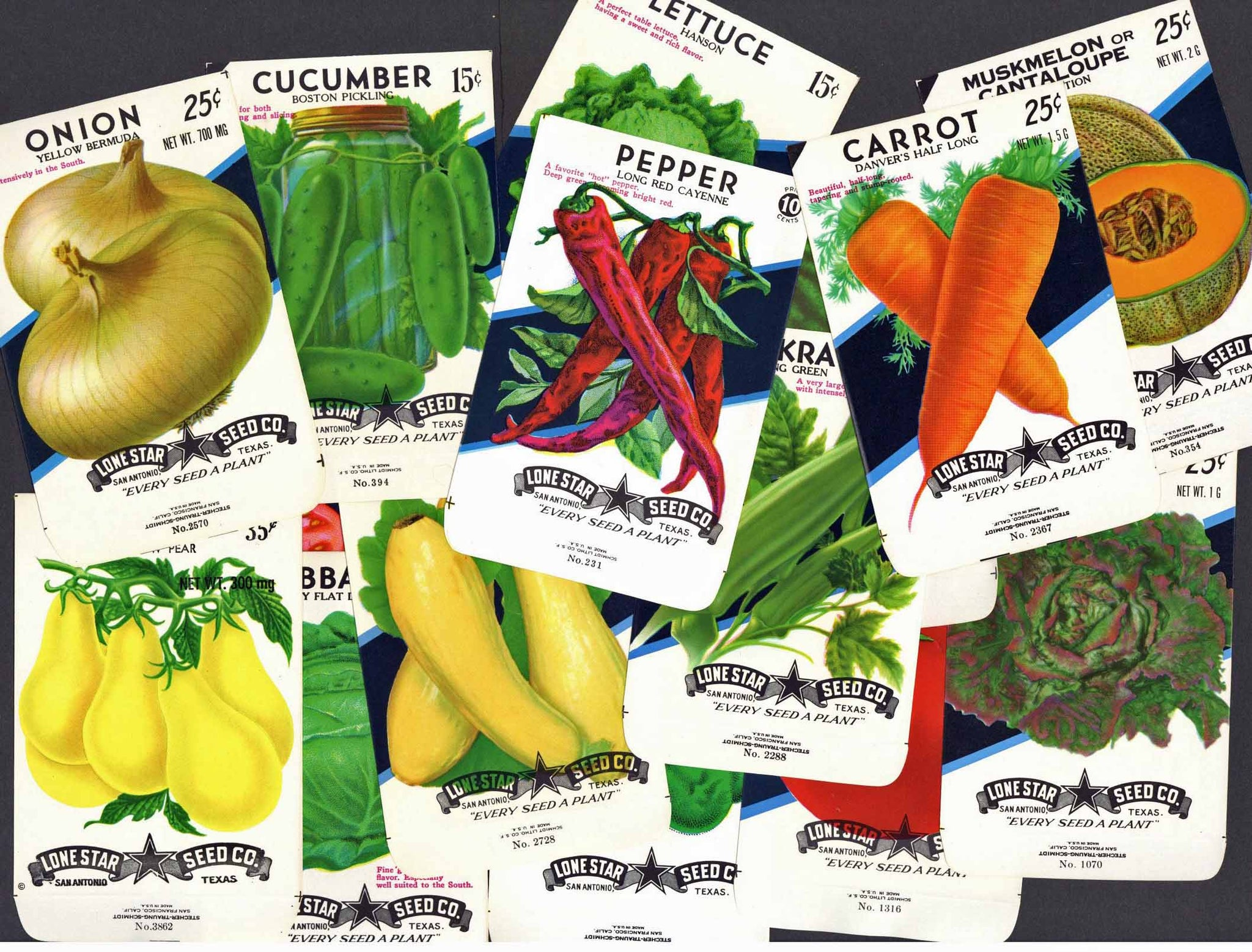 A Collection of 15 Vintage Vegetable Seed Packets