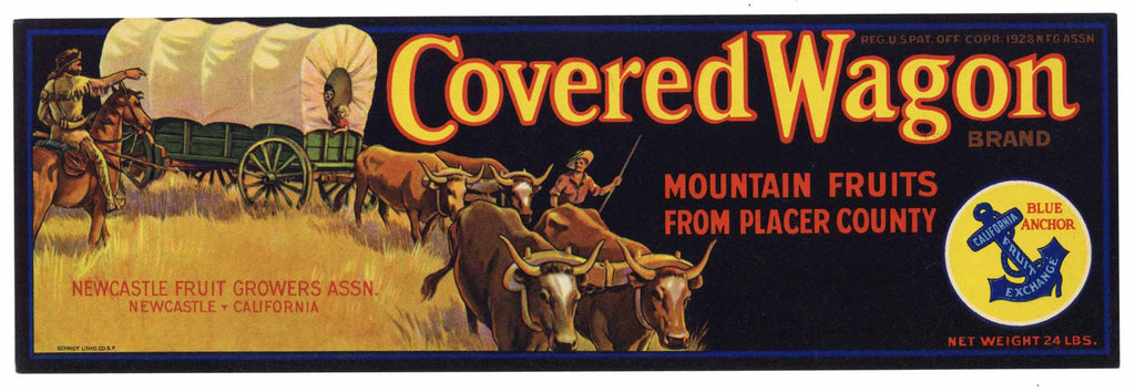 Covered Wagon Brand Vintage Placer County Fruit Crate Label
