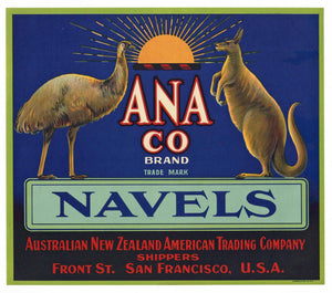 Ana Co. Brand Vintage Navel Orange Crate Label, Emu, Kangaroo
