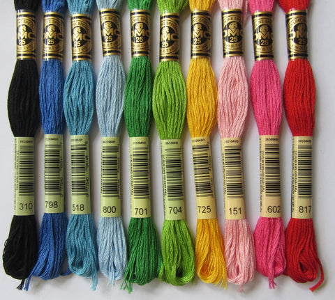 Single skeins of DMC embroidery floss