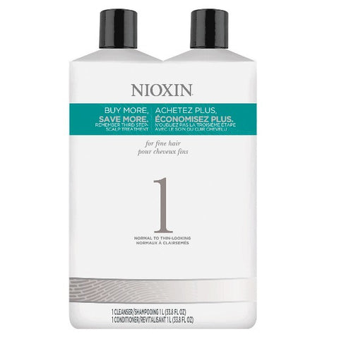 Nioxin System 1 Cleanser & Scalp Therapy Liter Duo by Nioxin