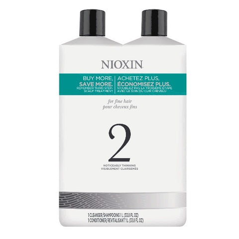 Nioxin System 2 Cleanser & Scalp Therapy Liter Duo by Nioxin