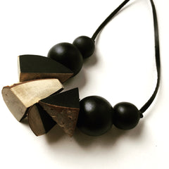Birch recycled wood bead necklace by Mainichi