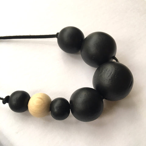 Upcycled wood bead necklace black and natural by Mainichi