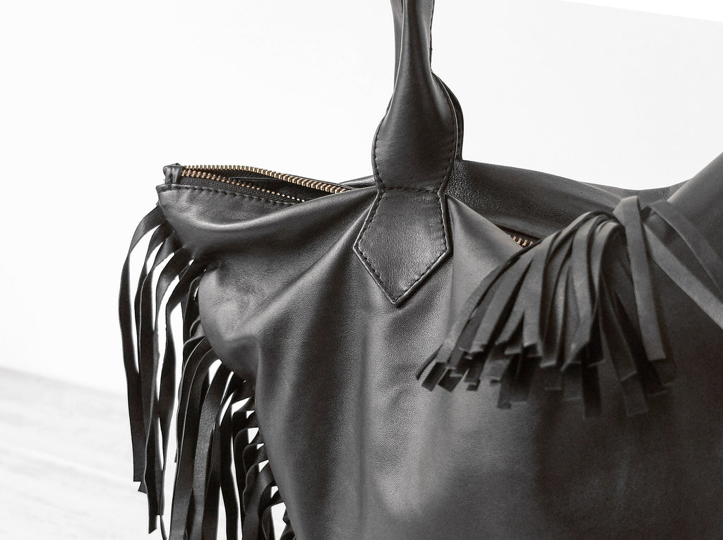 Charlotte Fringe | Black - Vive Ninette | One of a kind leather handbags
