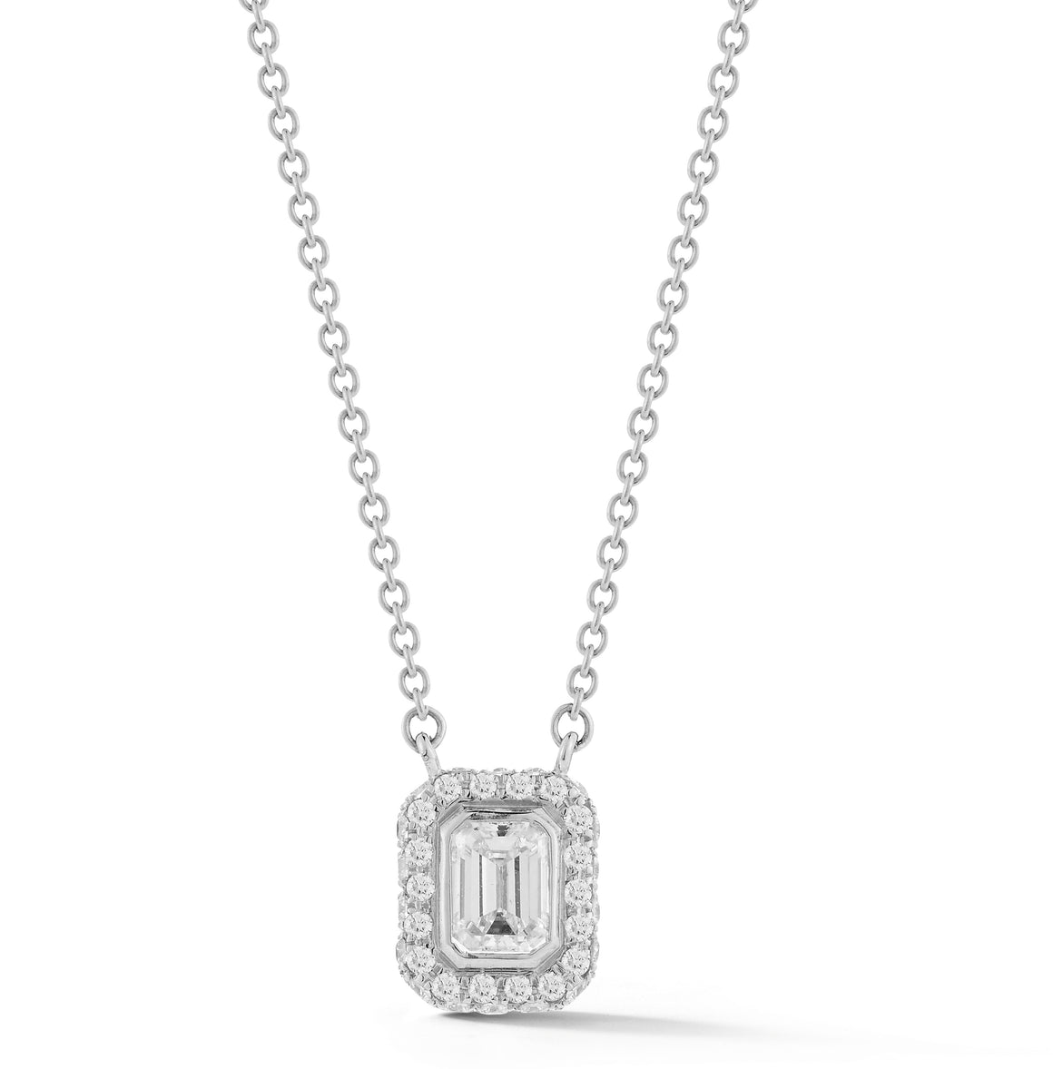 18k White Gold Emerald-Cut Diamond Halo Necklace - Talisman Collection