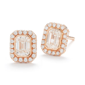 18k Rose Gold Emerald-Cut Diamond Halo Stud Earrings - Talisman Collection