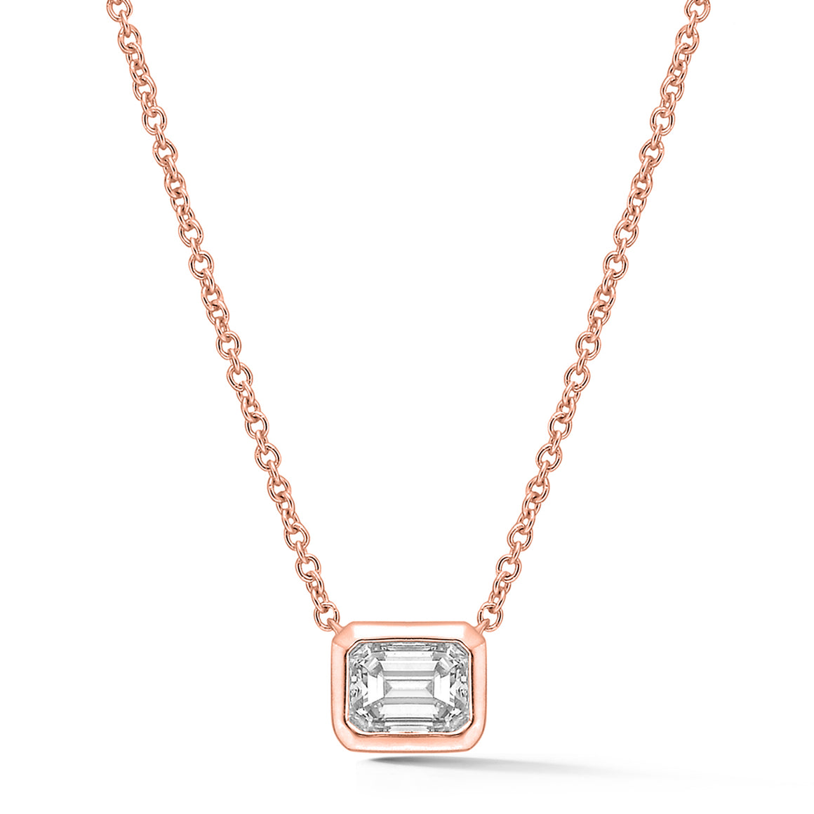 18k Rose Gold Emerald Cut Diamond Necklace - Talisman Collection