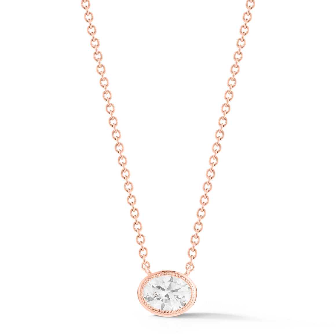 18k Rose Gold Milgrain Detail Oval Diamond Necklace - Talisman Collection