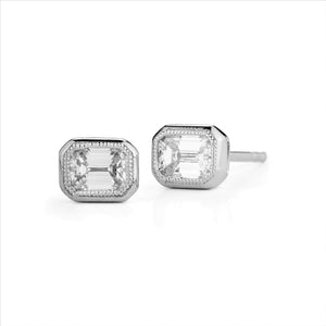 18k White Gold Milgrain Detail Emerald-Cut Diamond Stud Earrings - Talisman Collection