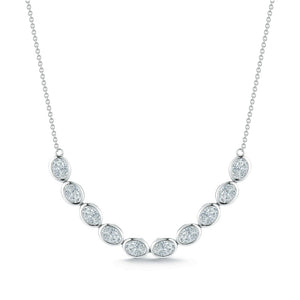 18k White Gold Bezel Diamond Bar Necklace - Talisman Collection