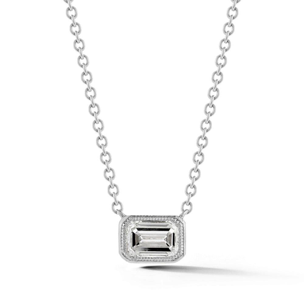 18k White Gold Milgrain Detail Emerald-Cut Diamond Necklace - Talisman Collection