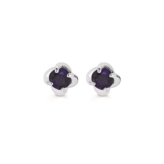 14k Gold Twist Sapphire Stud Earrings - Talisman Collection