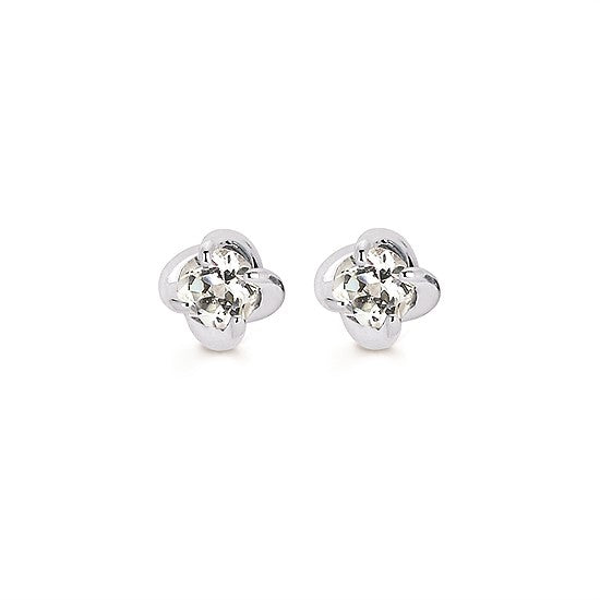 14k Gold Twist White Sapphire Stud Earrings - Talisman Collection