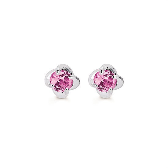 14k Gold Twist Pink Tourmaline Stud Earrings - Talisman Collection