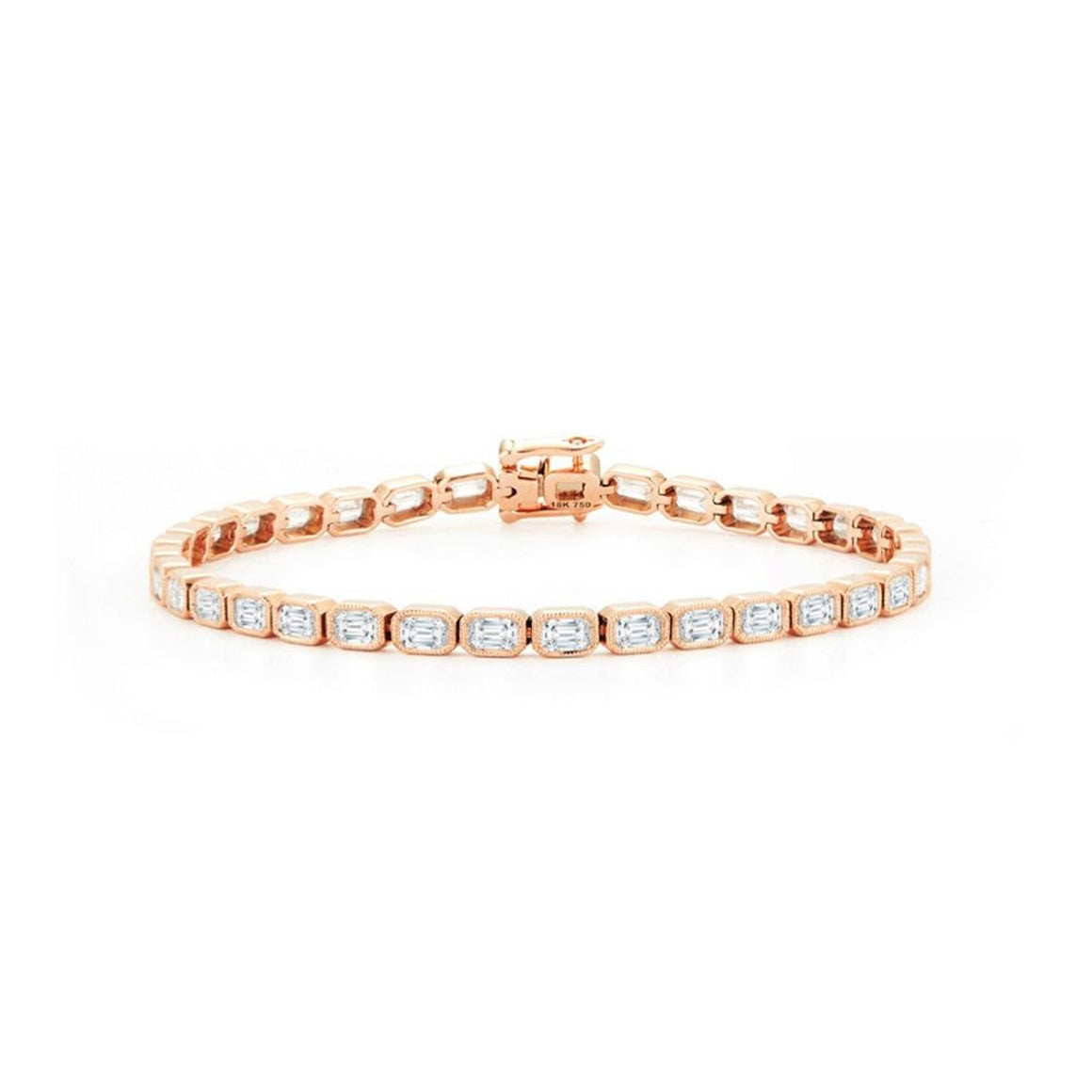 18k Rose Gold Milgrain Detail Emerald-Cut Diamond Tennis Bracelet - Talisman Collection