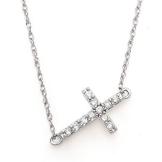 14k Gold Diamond Horizontal Cross Necklace - Talisman Collection
