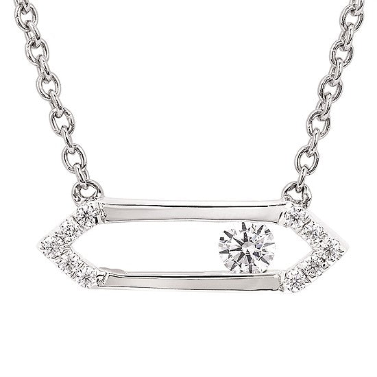 Sterling Silver Sliding Diamond Necklace