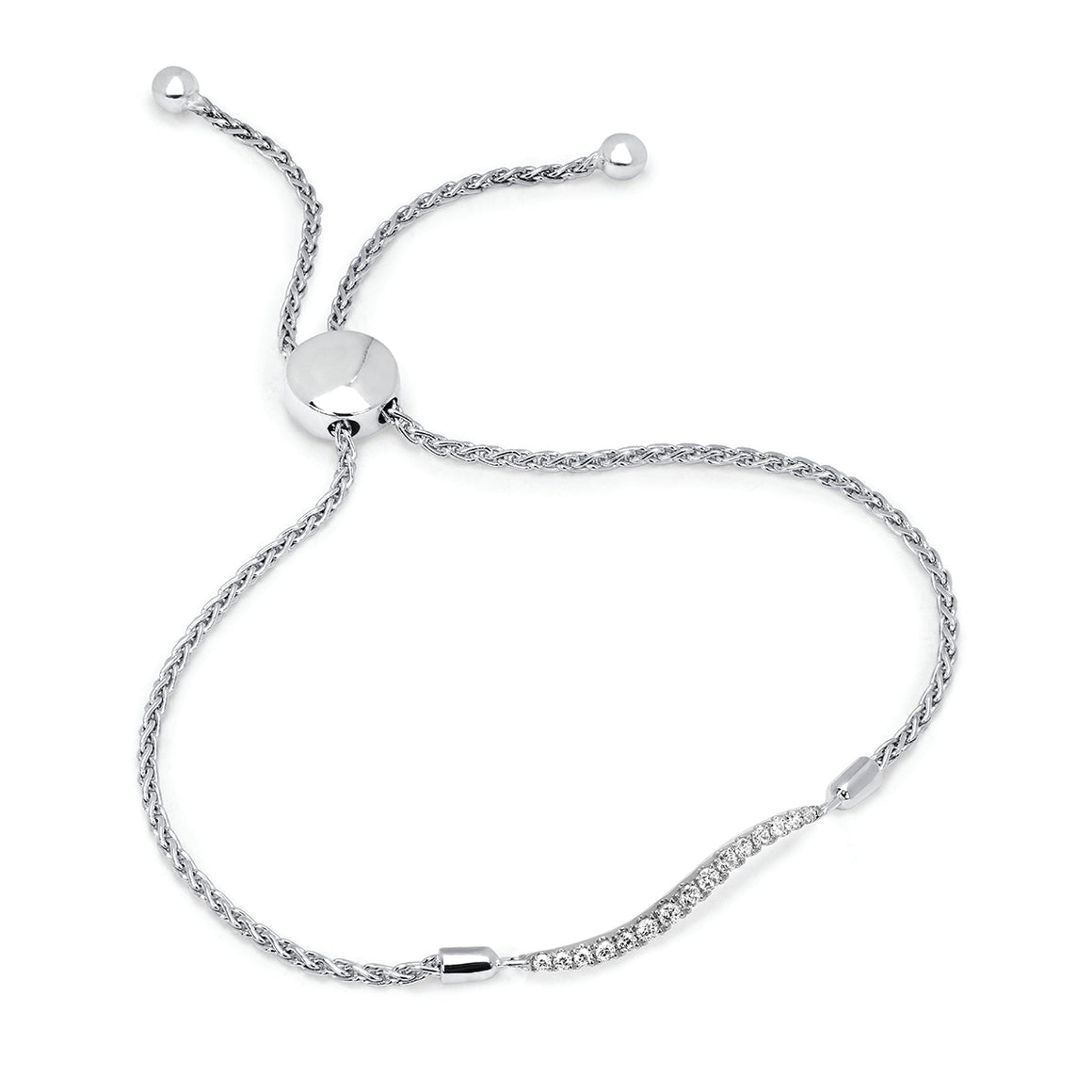 14k White Gold Diamond Bar Bracelet - Talisman Collection