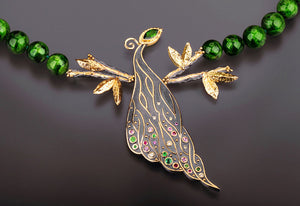 "Margisa ""Peacock"" Sterling Silver and 18k Necklace"
