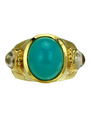 Crevoshay 18k Yellow Gold Cabochon Chrysocolla Ring