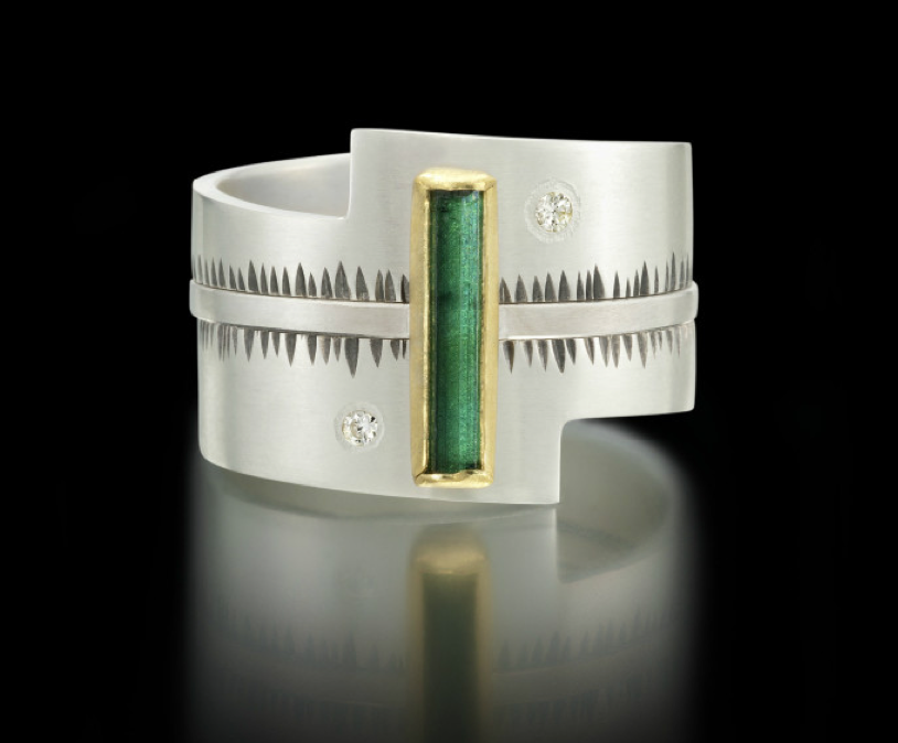 Green Tourmaline Silver, 22k Yellow Gold and Diamond Ring - Talisman Collection