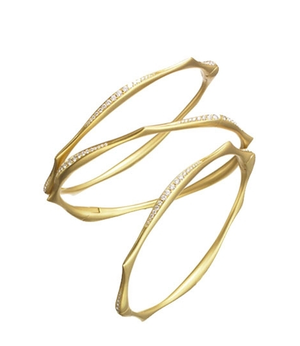 Anahita 18k yg Diamond Wave Bangle Bracelets - Talisman Collection