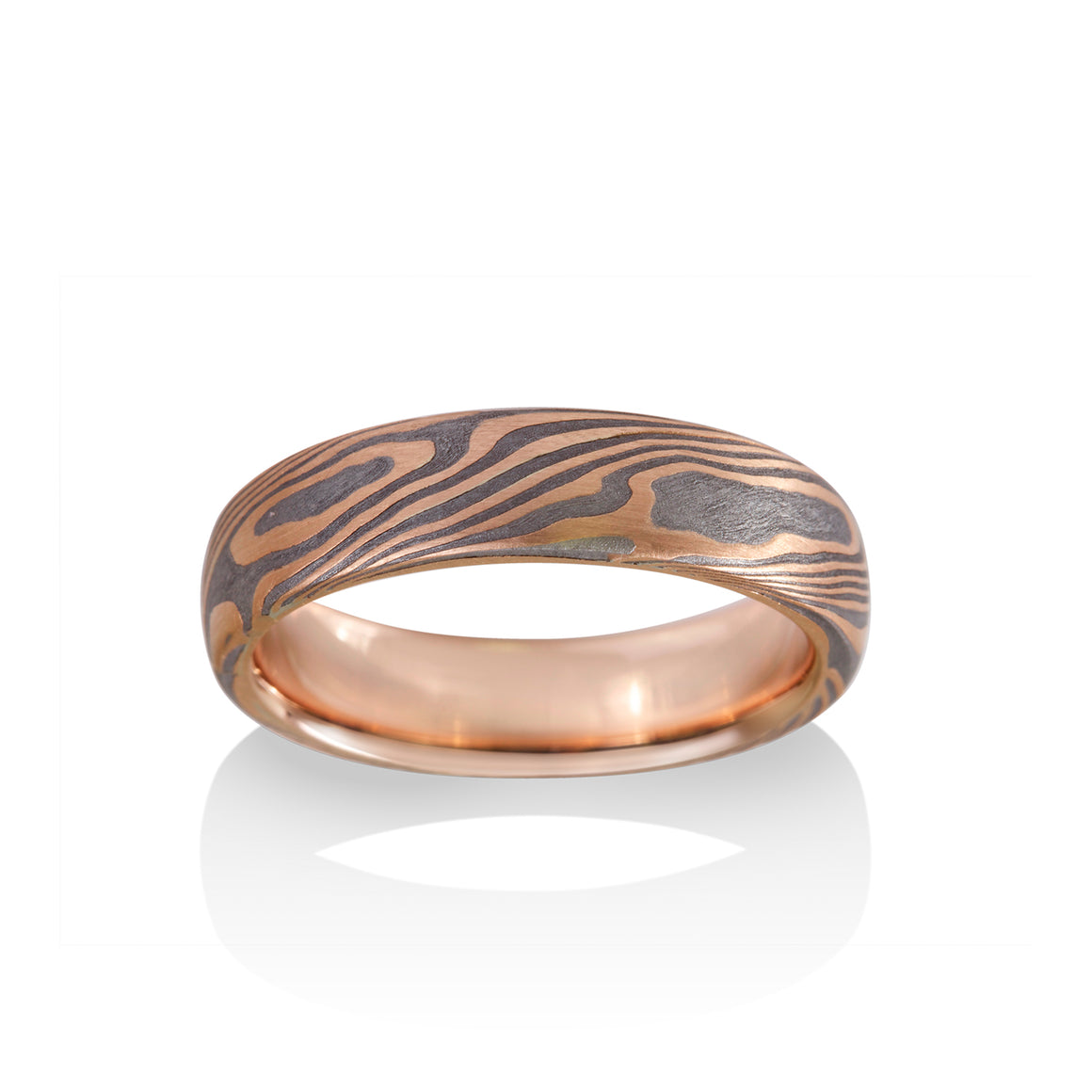 Chris Ploof Maple Mokume Ring in 14K Red Gold and Meteorite