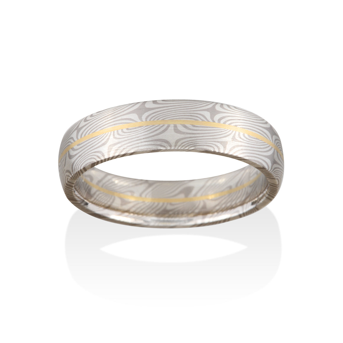 Chris Ploof Spruce Pd500 and Silver with an 18K Yellow Gold Rail Mokume Ring