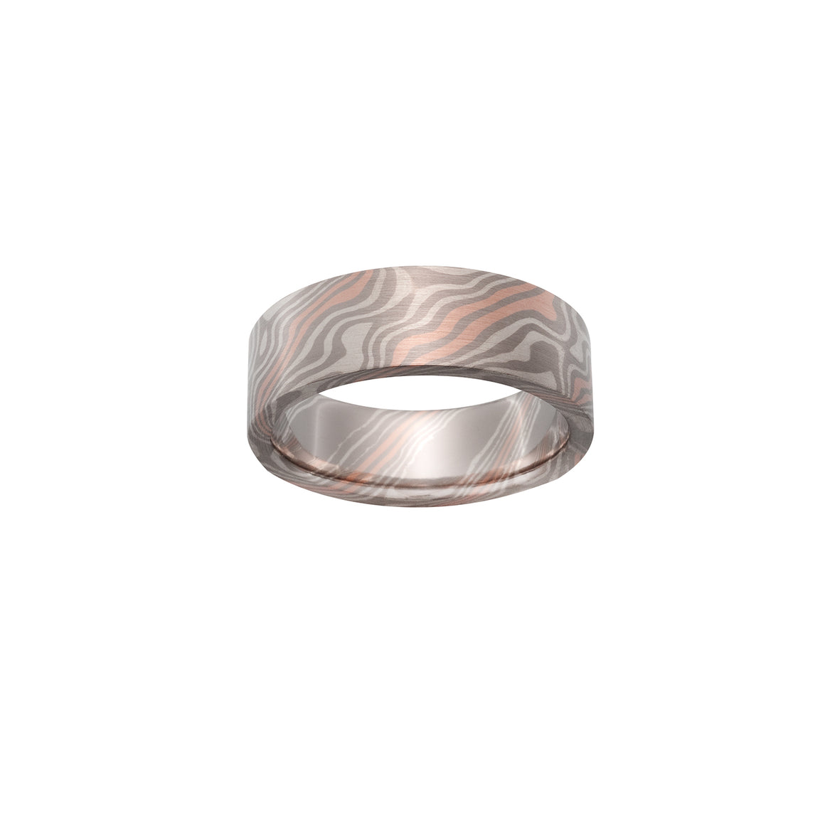 Chris Ploof Beech Pd500, 14K Red Gold and Silver Mokume Ring