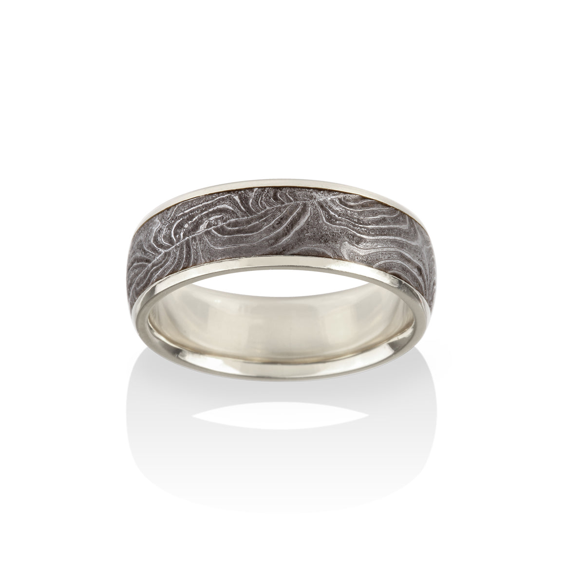 Chris Ploof 18K Palladium White Gold Channel Double Barrel Damascus Ring