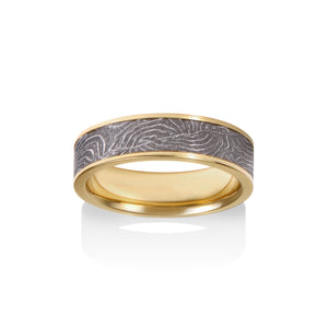 Chris Ploof 18K Yellow Gold Channel Double Barrel Damascus Ring