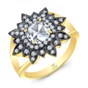 18k Yellow Gold and Diamond Rose Cut Starburst Ring by Lord Jewelry - Talisman Collection