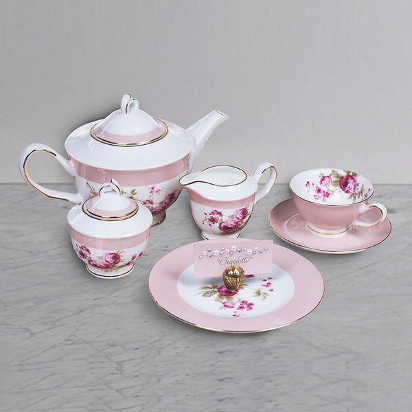 21 pc Tea Set - Pink -for  6 Persons