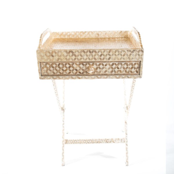 Capiz Shell Tea Chest with Stand - in Floral design