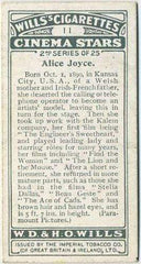 Alice Joyce 1928 Wills Cinema Stars Tobacco Card Series 2 #11