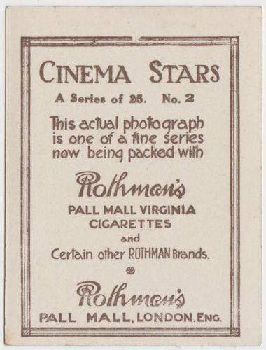 Anita Stewart 1925 Rothmans Cinema Stars Tobacco Card #2