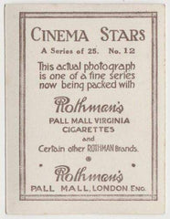 Dorothy Mackaill 1925 Rothmans Cinema Stars Tobacco Card #12