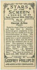 George Arliss 1934 Godfrey Phillips Stars of the Screen Tobacco Card #31