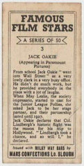 Jack Oakie 1939 Mars Confections Famous Film Stars Trading Card #3