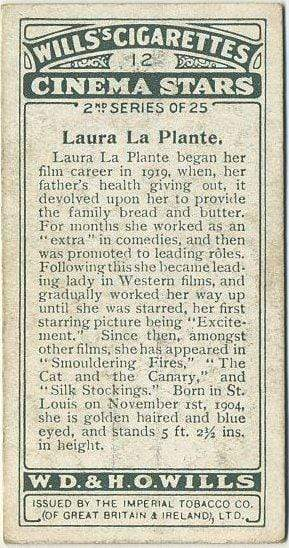 Laura La Plante 1928 Wills Cinema Stars Tobacco Card Series 2 #12