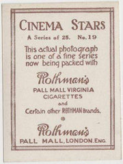 Pola Negri 1925 Rothmans Cinema Stars Tobacco Card #19
