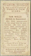 Tom Walls 1934 Wills Famous Film Stars Tobacco Card #92 - Standard Size