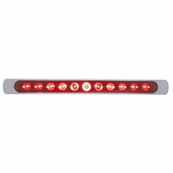 "United Pacific 11 LED 17"" Stop, Turn & Tail Light Bar w/ Bezel - Red LED/Red Lens- On"