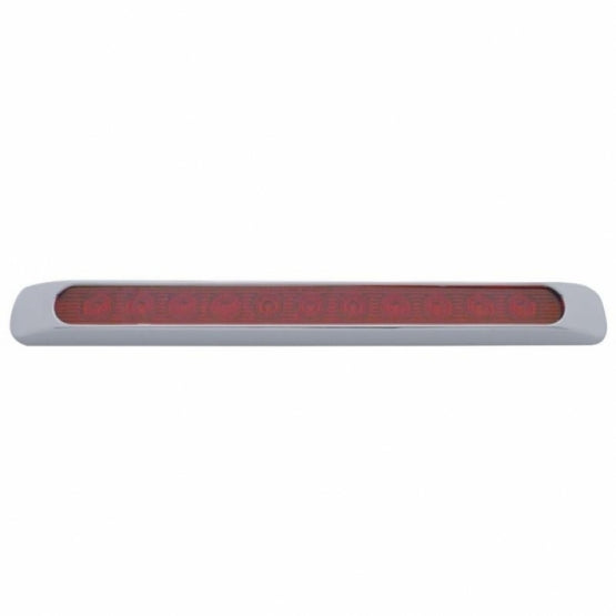 "United Pacific 11 LED 17"" Stop, Turn & Tail Light Bar w/ Bezel - Red LED/Red Lens- Off Side View"